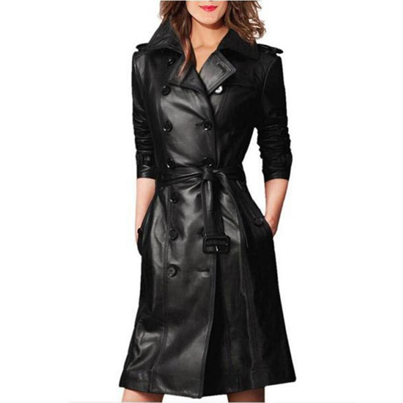 Plus Size Long Sleeve Female Overcoat Double-breasted Long Coat Ladies Windbreaker Women Spring Autumn Pu Leather Trench Coat