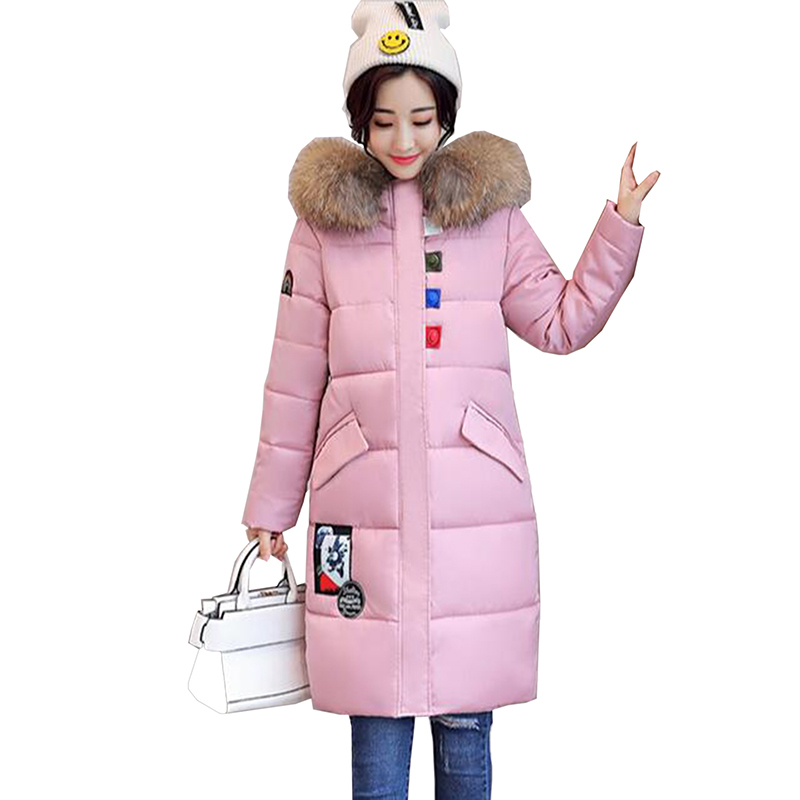 new 2017 Winter Wadded Jacket Women Hooded Long Hood Thick Cotton Padded Coat Female Plus Size Parkas Ladies Fashion Outerwear стоимость
