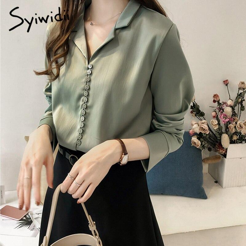 Fashion Woman   Blouses   2018 Sexy Button Long-sleeved Autumn Women Silk Satin   Blouse     Shirt   Plus Size Vintage Elegant   Blouse   Women