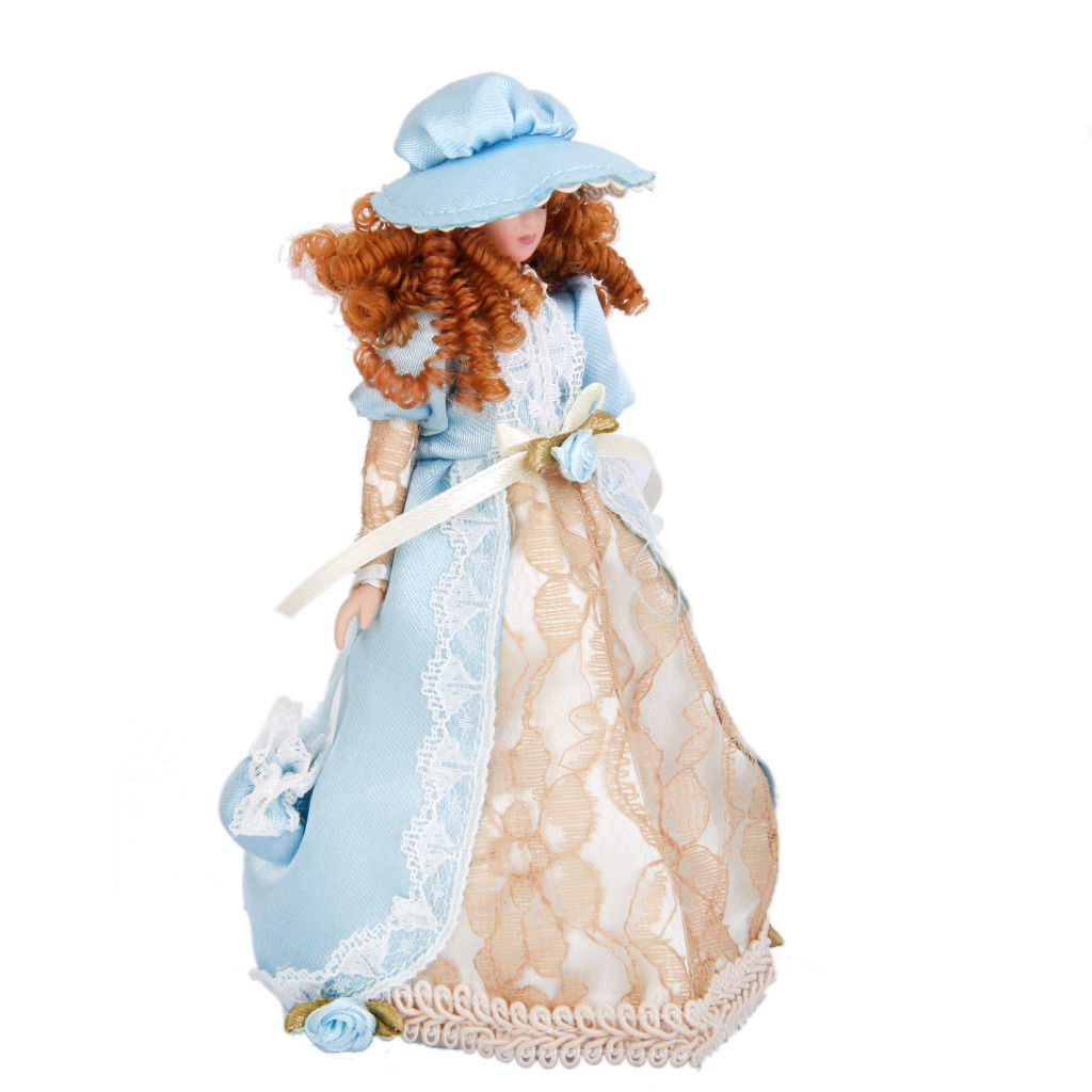 HOME-Dollhouse Miniature Porcelain Cute Dolls Victorian Lady in Dress Hat Stand Pretend Play Classic Dolls