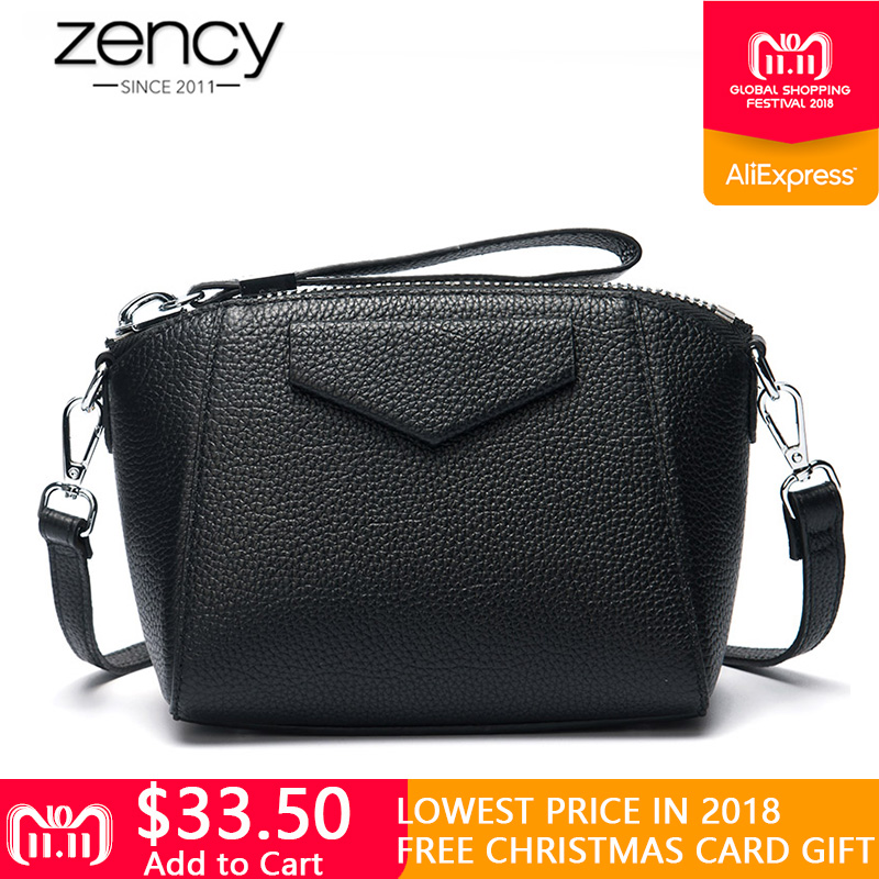 Zency Quality A+ 100% Genuine Leather Women Day Clutches Small Shell Bag Simple Female Shoulder Bags Messenger Crossbody Purse women retro oil wax cow genuine leather bag crossbody chain messenger bags day clutches female purse wallet high quality brand
