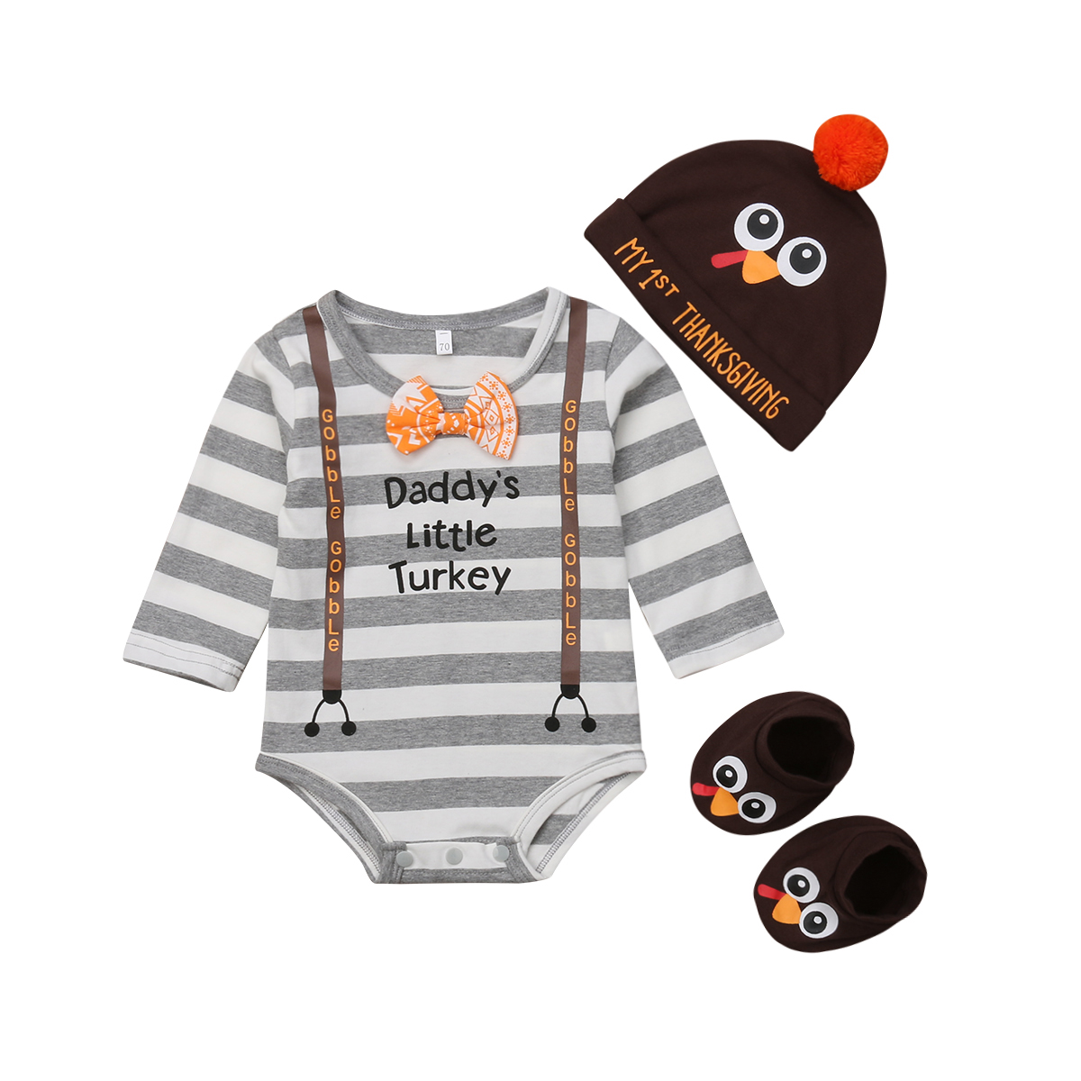 Turkey Clothes Set 3pcs Newborn Baby Boy Bodysuit Long Sleeve Boe Tops Hat 3Pcs Outfit Cotton Party Cute Clothes Set Baby 0-18M newborn baby girl clothes set 3pcs kid party my first christmas cotton bodysuit sequin bowknot tulle tutu skirt headband outfit page 1