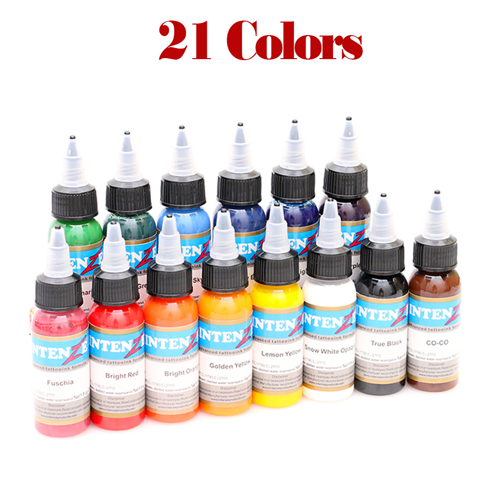 21 color tattoo ink pure plant tattoo machine paint set 30 ml eyebrows permanent tattoo black body painting tattoo supplies
