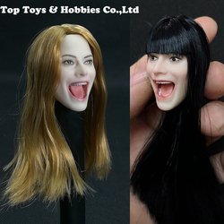 1/6 Scale red/Black/Blonde Hair Girl Personalized Carving Head Singing Open Mouth Model Fit For 12'' PH Body Action Figure