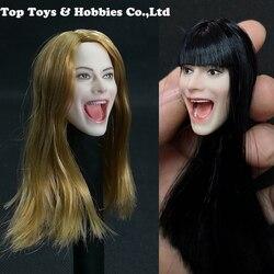 1/6 escala rojo/Negro/Rubio pelo chica personalizado tallado cabeza cantar boca abierta modelo apto para 12'' figura de acción corporal PH