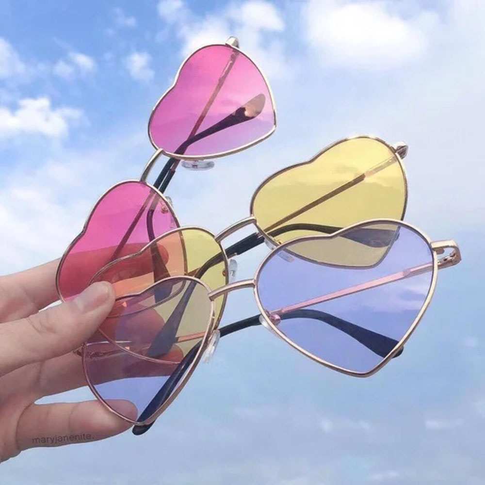 Fashion Retro Heart Sunglasses Women Sun Glasses Lens Alloy Sunglasses Female Eyewear Frame Driver Goggles Car Accessories