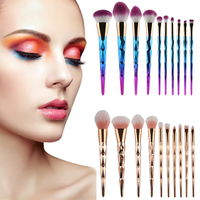HUAMIANLI 10PCS Nylon Hair Makeup Brush Gradient Cosmetics Eye Face Professional Brushes