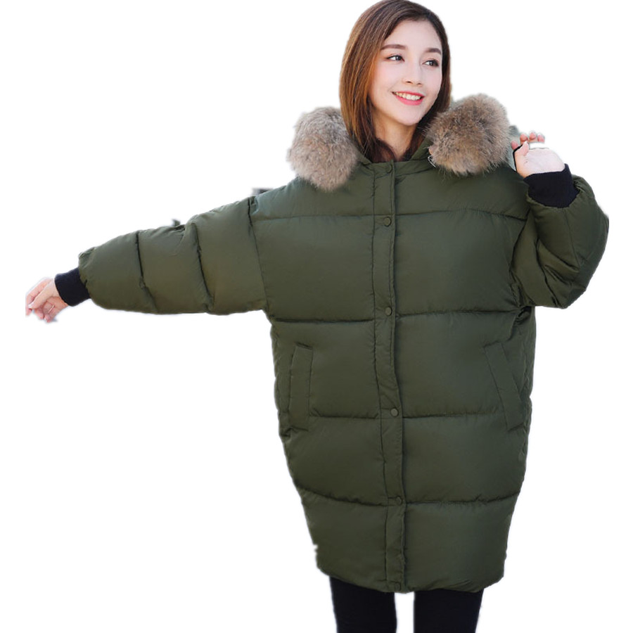 Size M-XXL New Women's Casual Large Fur Collar Long Thick Warm Snow Cotton Jacket Parkas Coat For Women Winter,4 Colors,6811 2017 new winter women winter women in the long section of thick cotton coat fur collar jacket cold winter jacket size m xxl