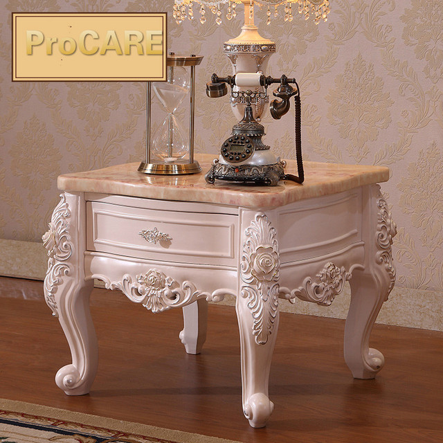 European Style Wooden Angle Marble Carved Wood Small Tea Table Telephone Table Living Room