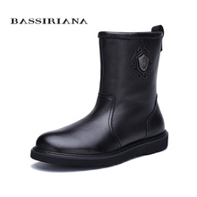 BASSIRIANA new warm genuine leather shoes men snow ankle boots winter round toe slip-on soft nature wool black suede size 39-45