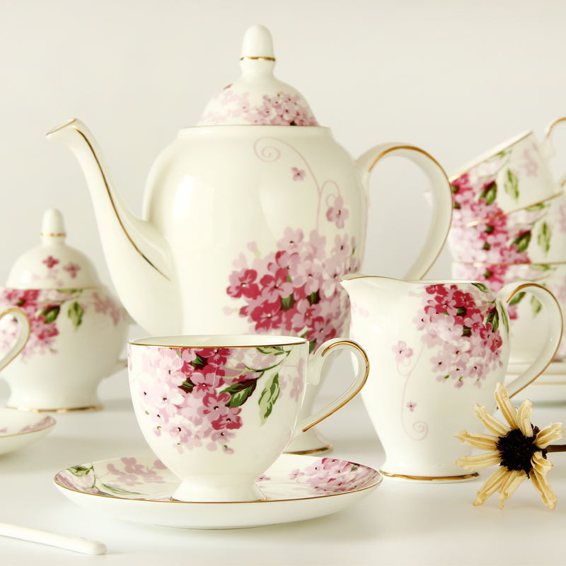 15 pcs ceramic bone china afternoon tea set flower coffee cup and saucer set:1 pot 1 creamer 1 sugar pot  6 cups   6saucers