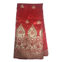 African Embroidery George Wrappers Raw Silk Fabrics With Sequins For Clothes