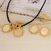 Sky talent bao Ethiopian Big Coin Cross Pendant Necklace Earring RingJewelry Gold GF African Eritrea Habesha Jewelry Sets