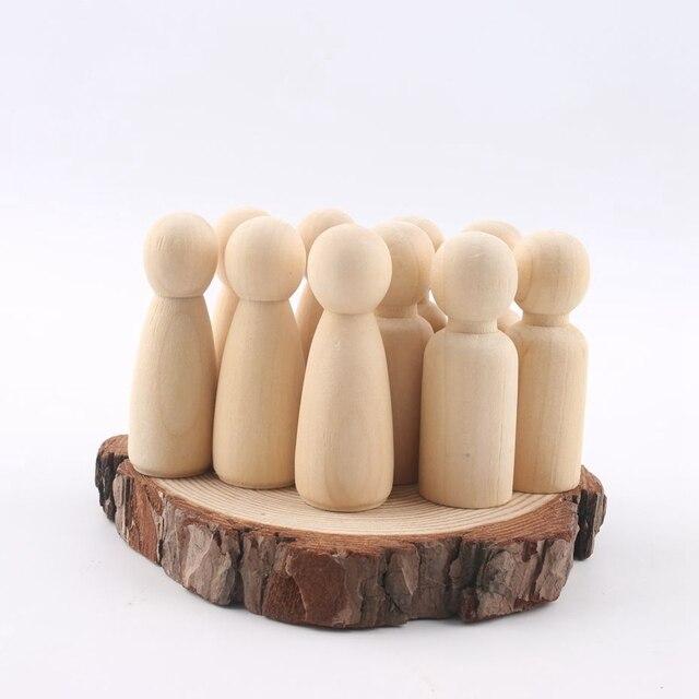 Peg bebek seti 40 adet ahşap aile oyuncak bebekler (43mm/55mm) bitmemiş boyasız düğün kek bebek bahçe odası dekor el yapımı
