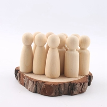 Peg pop set van 40pc hout Familie pop speelgoed (43mm/55mm) onvoltooide ongeverfd Bruiloften Cake Pop Tuin room Decor Handgemaakte