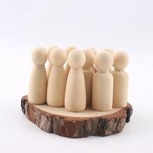 Peg puppe set von 40pc holz Familie puppe spielzeug (43mm/55mm) unfinished unlackiert Hochzeiten Kuchen Puppe Garten zimmer Decor Handmade