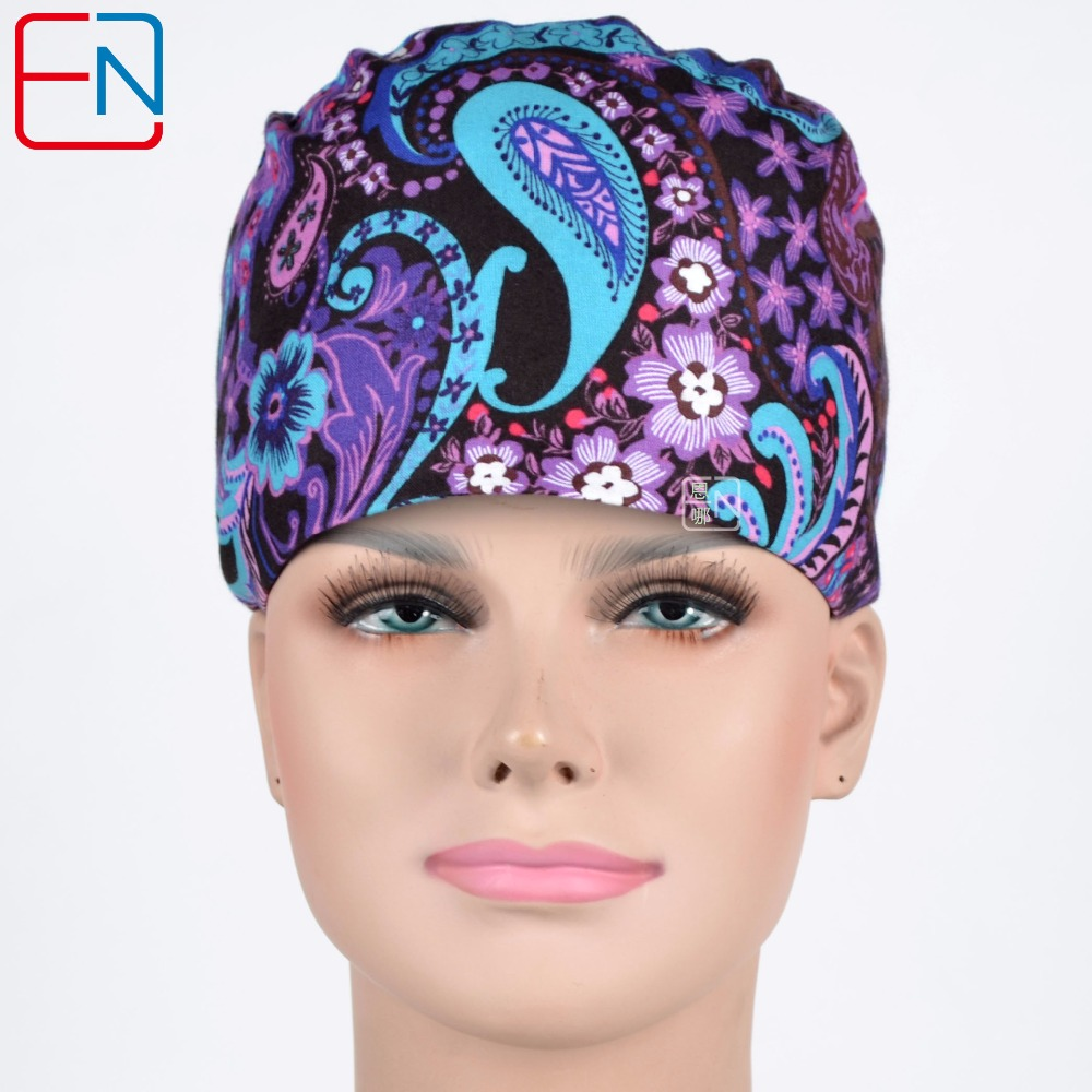 Hennar Women Medical Hats Masks Caps Cotton Purple Print Doctors Surgery Caps Adjustable Hospital Clinical Medical Accessories