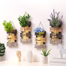 Pastoral Decoration Hydroponic Plant Glass Vase Living Room Wall Hanging Wooden Wall Flower Arrangement Flower Vase plant leaves in the vase printed tassel wall hanging painting