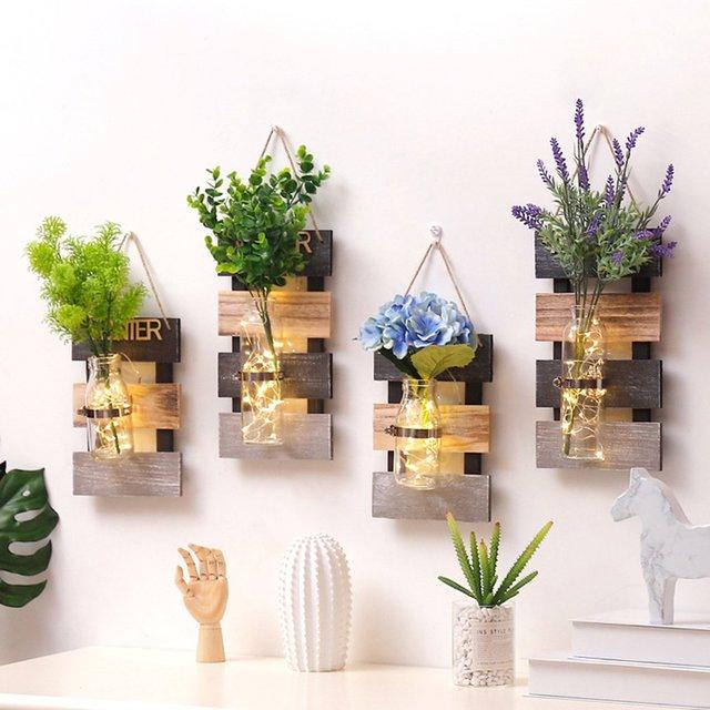 Living Room Flower Vases New Design Furniture Pastoral Decoration Hydroponic Plant Glass Vase Wall Hanging Wooden Arrangement
