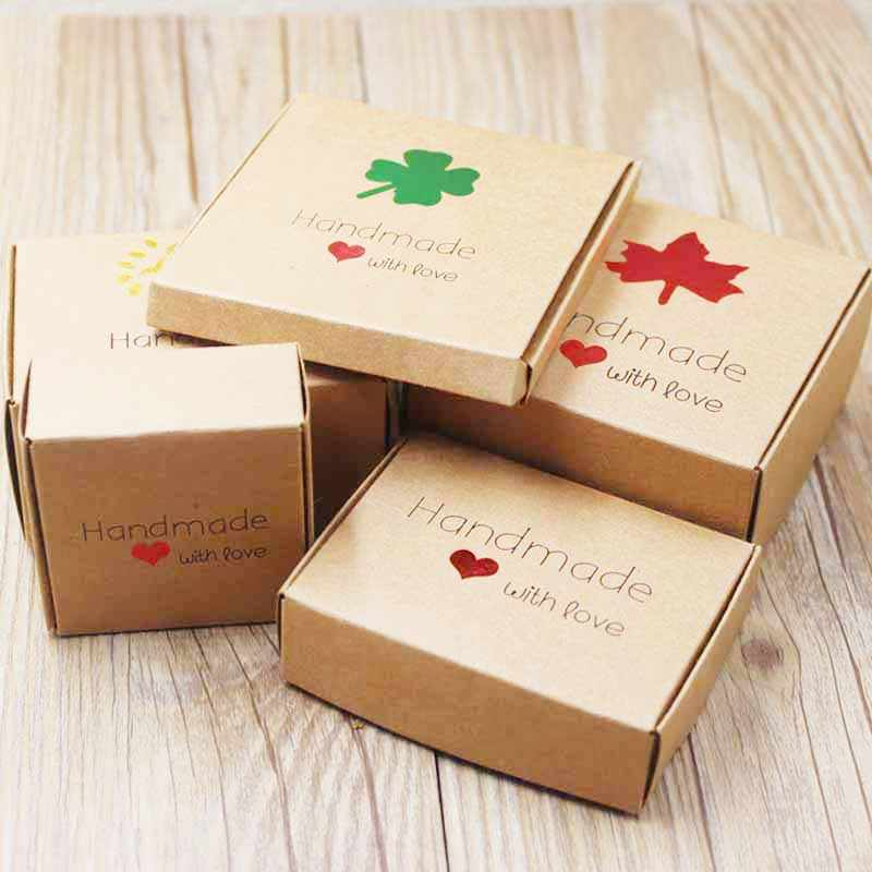 Feiluan custom multi styles gift/candy/packing box DIY handmade with love cardboard gift package &display box jewelry box10pcs