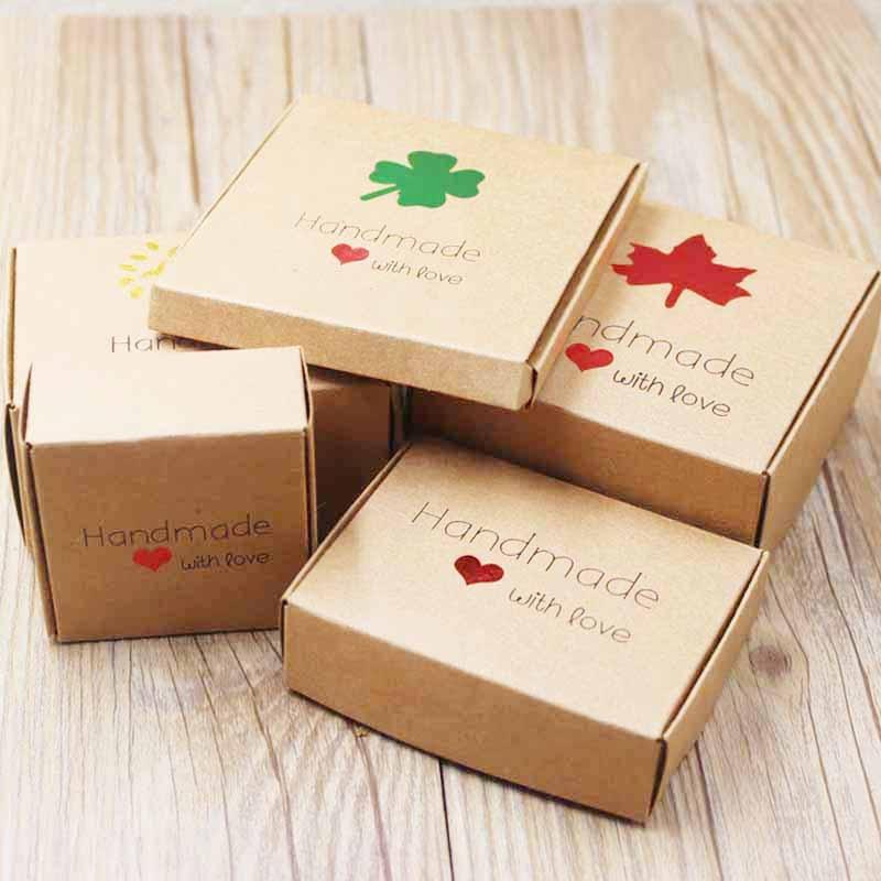 Feiluan custom multi styles gift/candy/packing box DIY handmade with love cardboard gift package &display box jewelry box10pcs