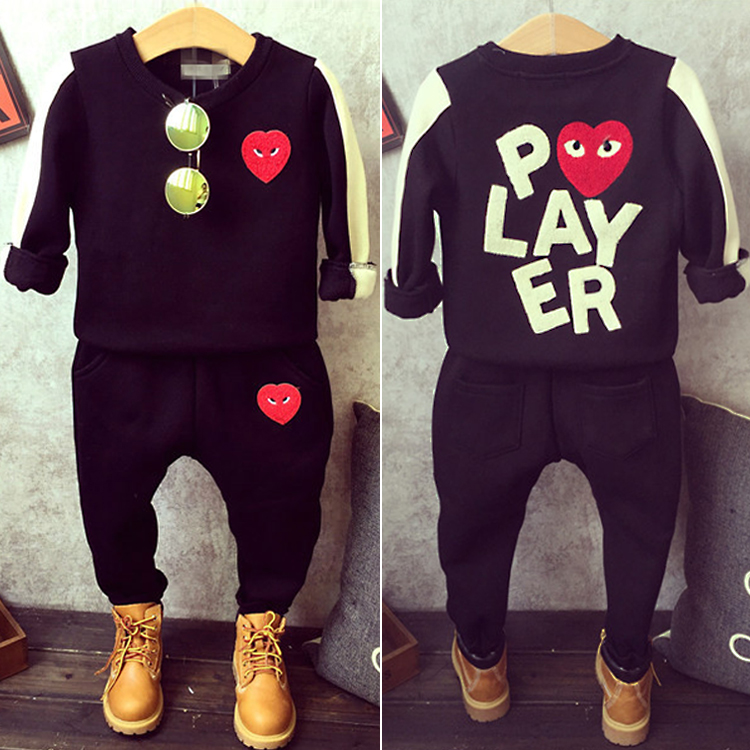 Fashion boyes&girls long sleeve high quality love clothing sets the T-shirt and pant 2prcs set spring winter kids clothes the love of clothing care 000001