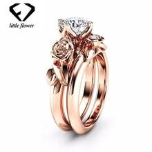 14K Rose Gold Diamond Zircon Ring Set  Platinum Flower Bizuteria of Anillos De Anel Gemstone Diamante Fine Jewelry Rings