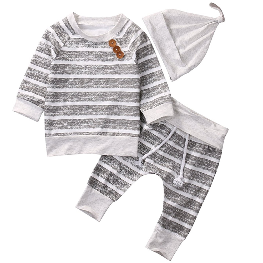 Newborn Baby Boys Girls Hooded Sweatshirt T-Shirt Tops+Striped Pants Kids Bodysuit/Tshirt Hat Outfits Clothes 0-18M