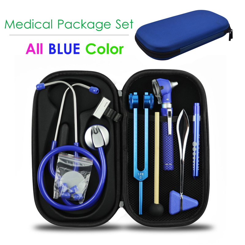 Blue Medical Hard Carrying Storage Case Bag Pouch and Stethoscope Otoscope Tuning Fork Reflex Hammer LED Penlight Torch Tool
