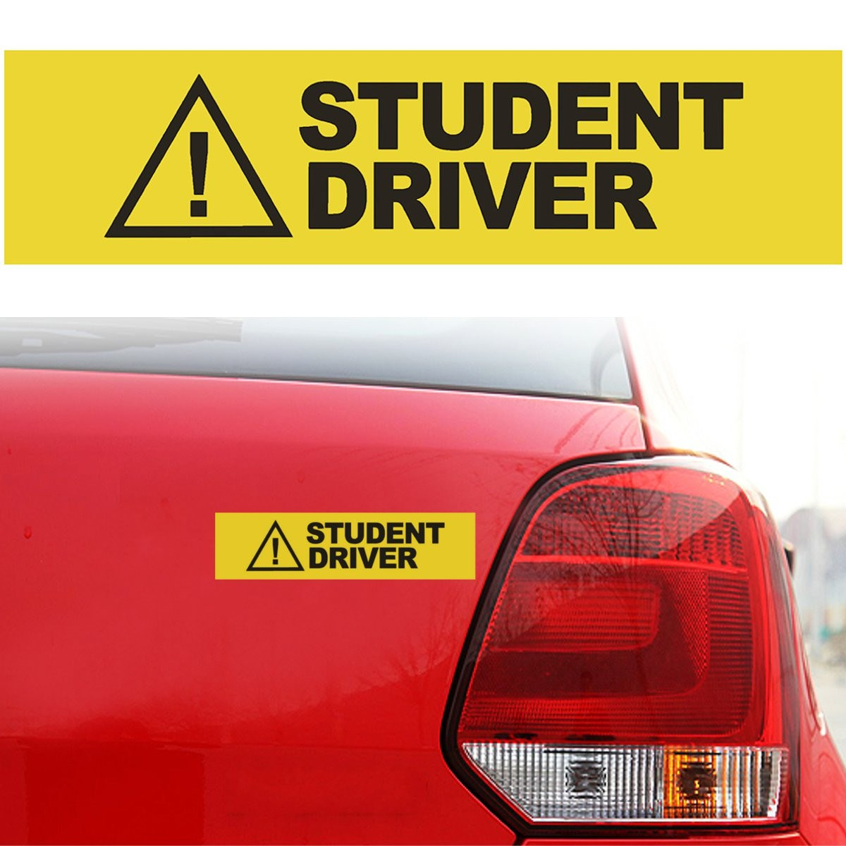 30 x 7.5cm Yellow Caution Student Driver Car Vehicle Magnetic Reflective Sign Safety Decal