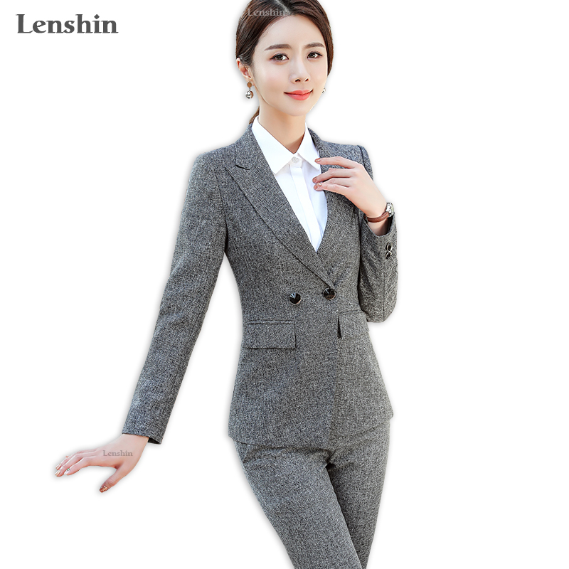 18cf30e6 US $52.9 |Lenshin 2 Pieces Set Women Pant Suits with Pockets Business  Office Lady Work Wear Formal Female Two Button Blazer with Pant-in Pant  Suits ...