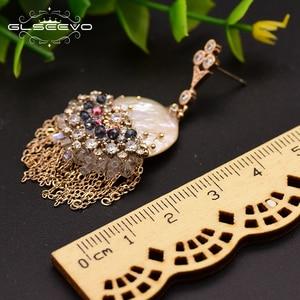 Image 4 - GLSEEVO מקורי עיצוב בעבודת יד פרל Drop עגילים לנשים טאסל להתנדנד עגילי יוקרה חתונה תכשיטי Brincos GE0695