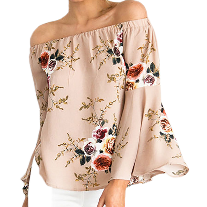 Plus Size Floral Print Blouses Off Shouler Top Summer Beach Sexy Women Shirts Loose Flare Sleeve Slash Neck Chiffon Blusas LX345 ...