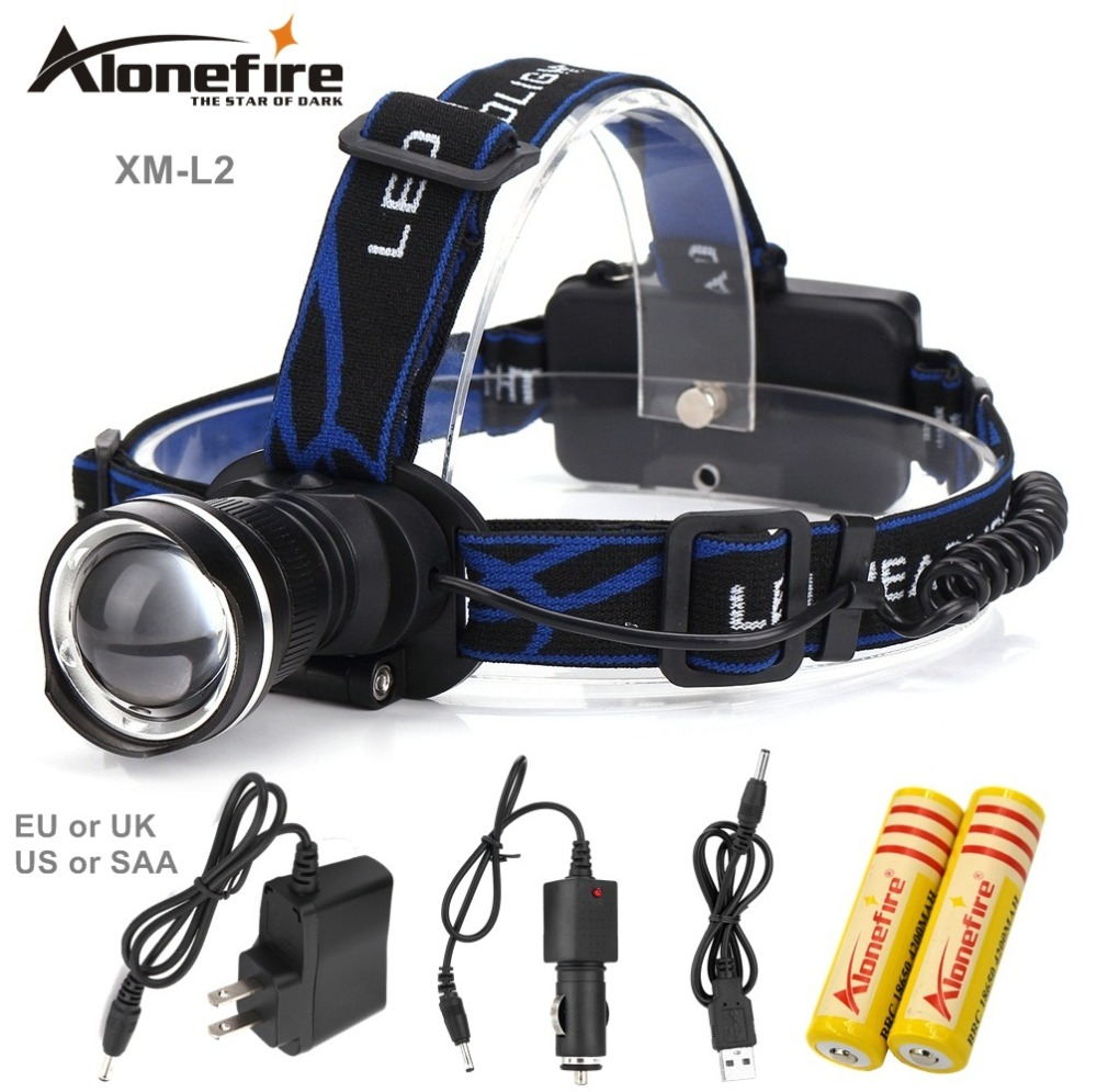 AloneFire HP87 Cree XM-L2 LED ZOOM CREE led Headlight 2200LM Headlamp light +AC/Car charger/ 2x 18650 battery
