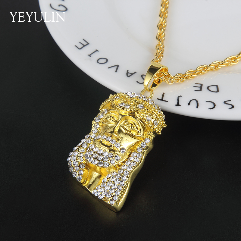 High Grade Hip Hop Bling Cuba Chain Gold Color Cool Mens Jesus Pendant Necklace For Man in Pendant Necklaces from Jewelry Accessories