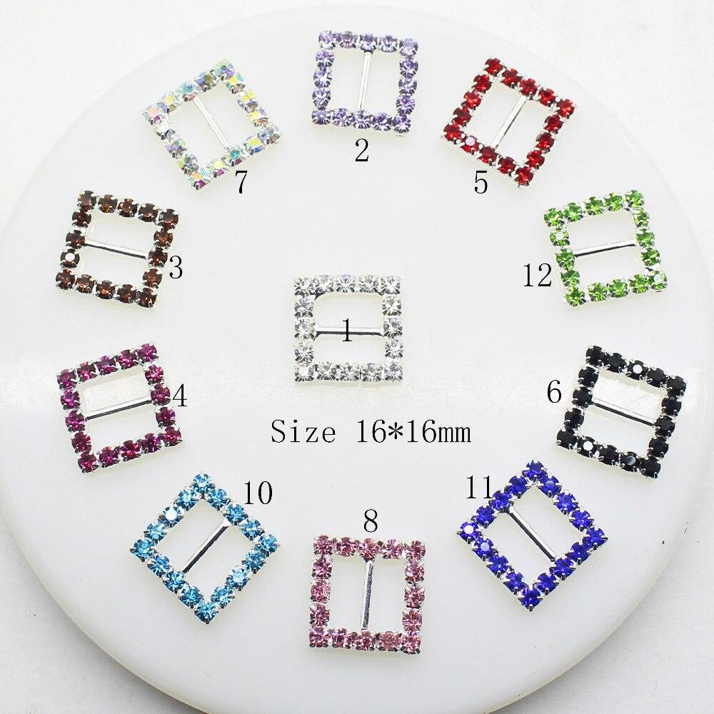 10pcs/Lot 16MM Square Multicolor Rhinestones Buckles Metal Diamante Diy Hair Accessory Bling Wedding Ribbon Fitting