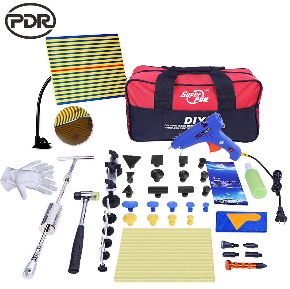 PDR Hand Tools Set Auto Tool Car Body Hail Ding Damage Dent Repair Removal Tool Kits Slide Hammer Glue Puller Tool Kits casual elastic waist printed loose fitting pants for women