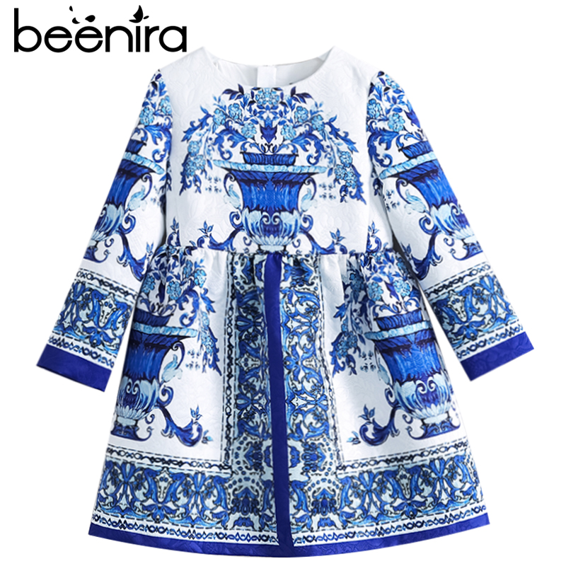 Beenira Children Winter Dresses 2018 Brand Kids European And American Style Full-Sleeve Pattern Princess Dress 4-14Y Girls Dress beenira children clothes dresses 2017 new summer fashion style girls flower pattern bow princess dress for 4 14y baby girl dress