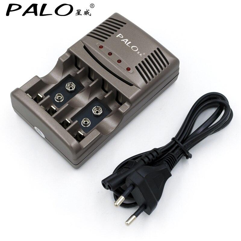 PALO cargador rápido con 4 ranuras pantalla LED Smart inteligente cargador de batería para AA/AAA 9 V NiCd NiMh baterías recargables