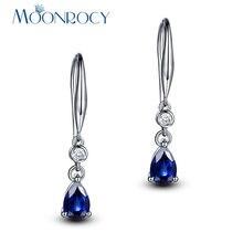 Moonrocy серебряный цвет cz синий кристалл серьги крючок кубический