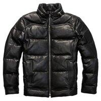 Мужские Натуральная овечья кожа пуховая куртка очень теплая овчина зимняя кожаная куртка 6189