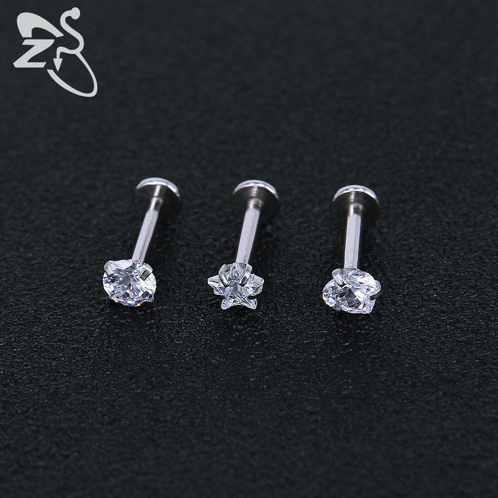 Stainless Steel Earring Studs Screw Earrings Girls Cubic Zirconia Cartilage Piercing Lip Studs Star Mini Earring Woman Jewellery 10