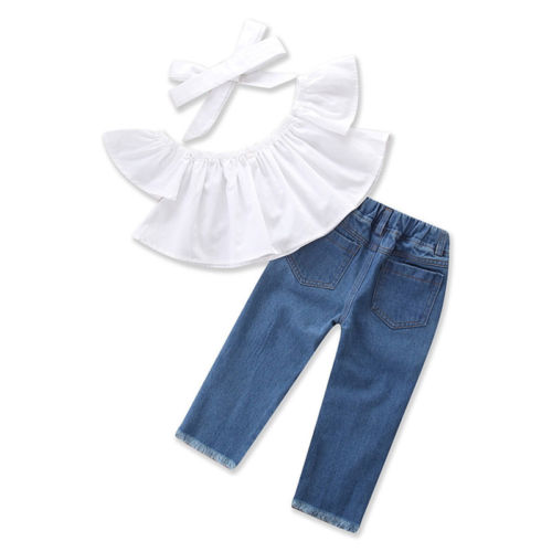 Kids Girls Off Shoulder Tops Denim Ripped Pants Outfits Set Children Girls Summer Slash Neck 2pcs Clothing Set 1-6Y