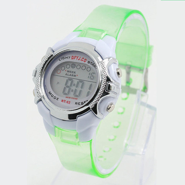 Children Watch Transparent Color Digital LED Alarm Date Sports Kids Wrist Watch
