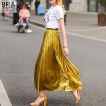 Spring and summer new long section women skirt high waist elegant half lady skirt pleated long skirt