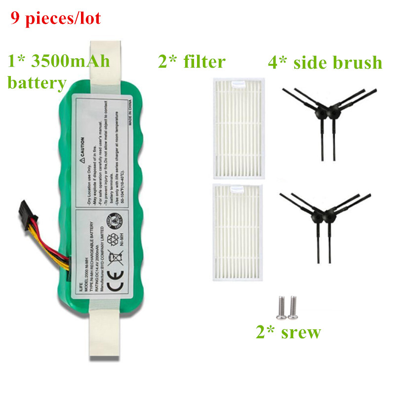 9pcs NI-MH 14.4V 3500mAh for panda X500 Battery Filter for Ecovacs Mirror CR120 Vacuum Cleaner Deebot X500 X580 X600 Brush 3500mah 14 4v cleaner battery for ecovacs deebot d54 deepoo d56 d58 with free side brush