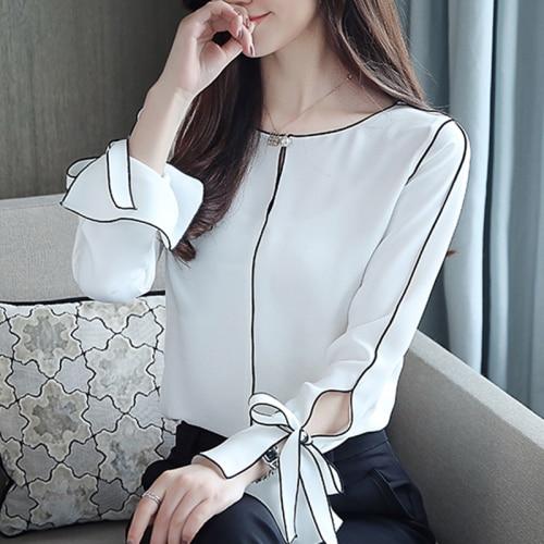 Blanco Cuello Gt6f Versión Mujeres Tops Invierno Slim 2018 Redondo Negro Diseños 6609 gt6f De Estilo White 653a Chifón Nuevo Otoño Blusas Femenina Las Moda Black Coreana H7dqnRRX