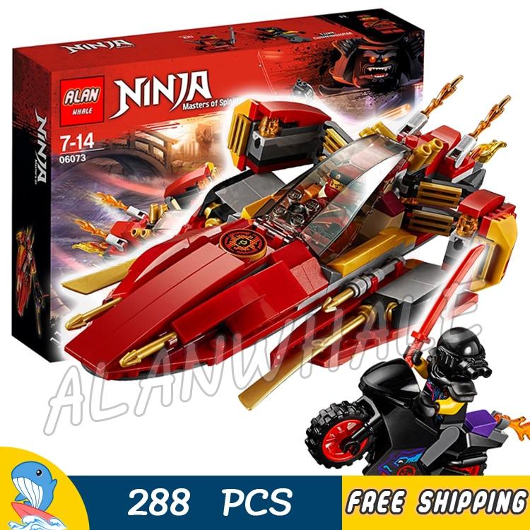 288pcs Ninja Katana V11 Battle Boat Street Bike Motorcycle 06073 Model Building Blocks Assemble Toys Bricks Compatible With lego 288pcs ninja katana v11 battle boat