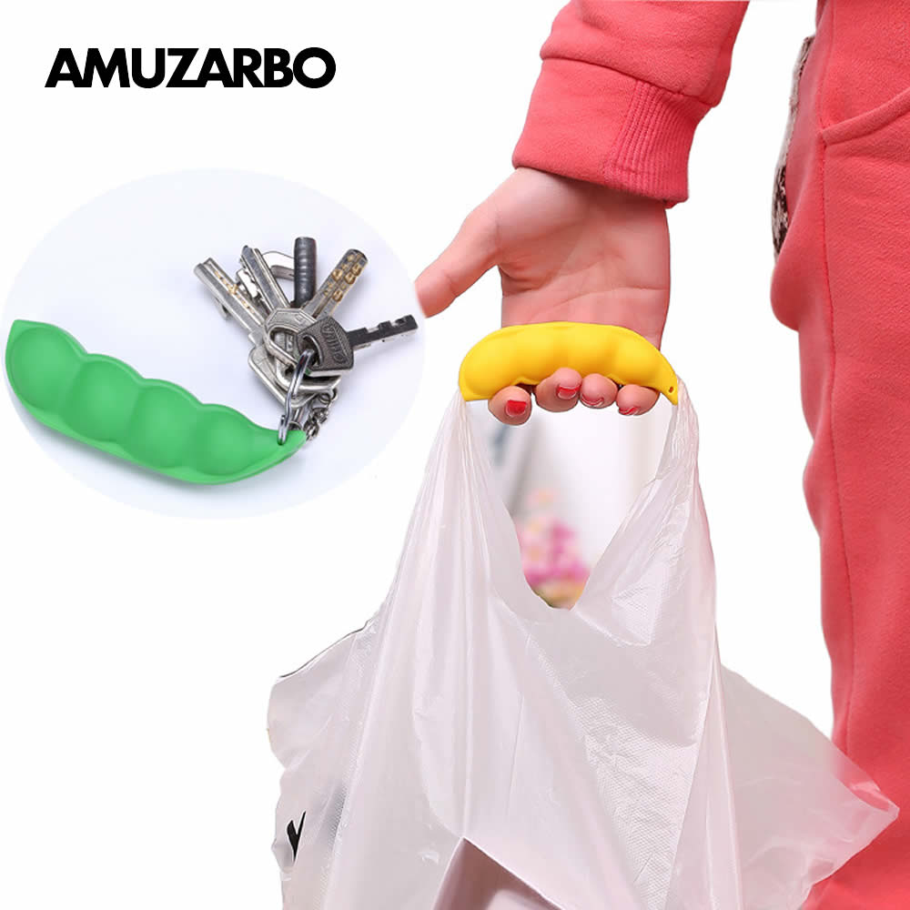 Grocery Bag Carrier Holder Handle Shopping Bags Garbage Bag Pea Pods Style Silica Gel Silicone Keychain Mommy Hook Carry Gift