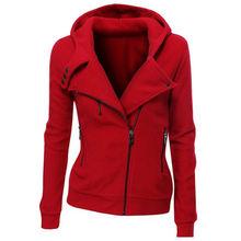 2016 New women Sweatshirts Solid Color Hooded Jacket Long Sleeve Women's Hoodie Zipper Fall Winter women Coat